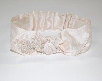 Flower Girl Headband, Pearls, Chantilly Lace, Silk, Baby Girl, Wedding Headband, Bridal Headband, Baptism Hair Bow, Baptism Headband