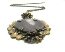 Modernist Pentti Sarpaneva Agate & Bronze Necklace Finland 1970s