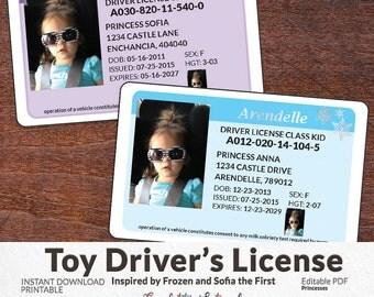 Kids Drivers License - Pretend Play - Imaginary Drivers License - Princess Drivers License - INSTANT DOWNLOAD