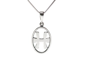 "Leolana® PISCES Zodiac Sign Sterling Silver Pendant ""February 20-March 21"" - with 18"" Chain"