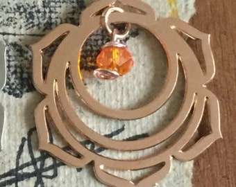 "CHAKRA NECKLACE (Sacral Chakra ) Swadhistana Chakra #2, Necklace 16""  long Rose Gold Filled Snake Chain"