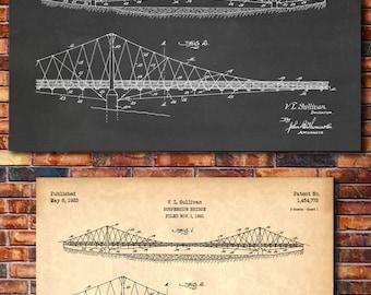 Suspension Bridge Patent Print Art 1923