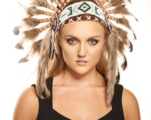 Native American Inspired Indian Headdress / Warbonnet White Feathers with Black Tips (SH009), 26in