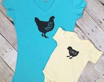 Mom and Me Matching Shirt - Shirt Set - Mom Shirt - Baby Bodysuit - Mama Hen Shirt - Baby Chick Shirt - Baby Clothing - Baby Shower Gift