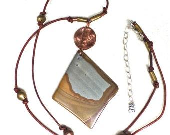 Landscape Jasper Diamond Pendant