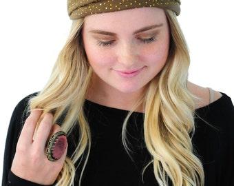 Boho Head Wrap, Hair Band, Fashion Headband, Headband in Brown With Golden Rhinestones By Simply Martha