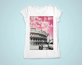 Roman Holiday inspired movie Tshirt  - 100% cotton women short sleeve shirt - Coliseum Rome Italy vespa apparel audrey hepburn film - NG75