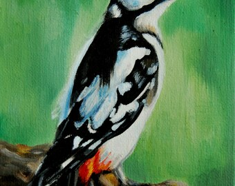 Great Spotted Woodpecker - Original Oil Painting