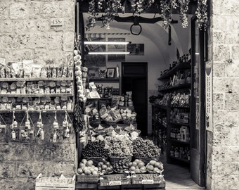 Siena Italy Market/Food and Wine Italy/Fine Art Photograph/Metallic Paper Print/Classic Italy/Travel Photography/B&W Silvertone/Anne Groton