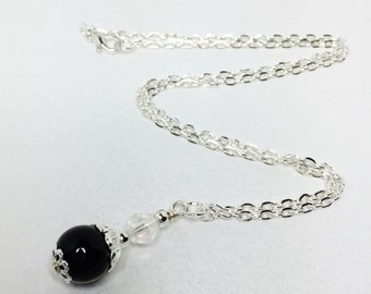 Black Pearl Pendant Black Beaded Necklace Gothic Wedding Gift Black Bridesmaid Jewelry Winter Wedding Gift under 20 Black Crystal Pendant