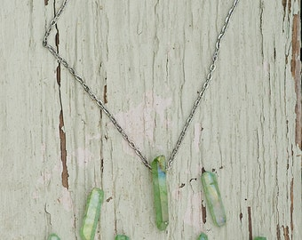 Quartz Crystal Necklace | Lime Green