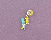 Sterling Silver Dual Birds Charm, Handmade 925 Sterling Silver Charm for Pandora Bracelet Any European Bracelet Or Necklace Chain