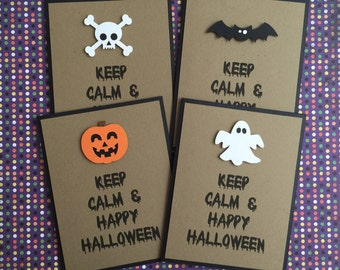Handmade Set of 4 Halloween Cards - Keep Calm & Happy Halloween