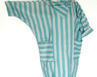 1980's Bill Berman California Grey & Teal Striped Dress / Styled by Jodi Schwartz