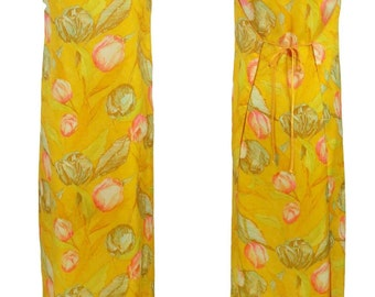 1960s Leisure Lovers Hostess Gown Lounge Wear Wrap Tie Maxi Dress Made in USA Sz. 8