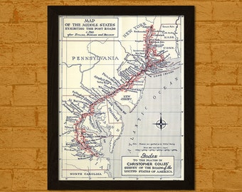 Old Middlestate Road Map 1790 -  Old Map Prints Historical Maps Antique Maps Posters Home Wall Decor Gift Idea BUY 2 GET 1 FREE