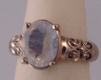 Rainbow moonstone ring in sterling silver mounting