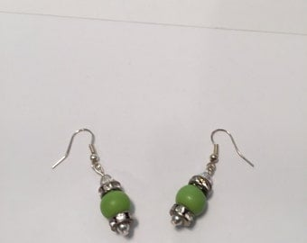 Green Wood and Rhinestone Earring
