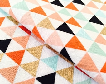 Gold Mini Triangle w/ Fun Colors Fabric - Premium Apparel Cotton with Gold, Coral and Mint - Ideal for Nursery and Home Decor Crafts