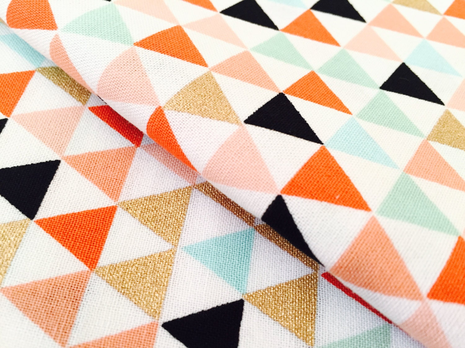 Crib size quilts for sale -  Quilt With Embroidery Gold Mini Triangle W Fun Colors Fabric Premium Apparel Cotton With Gold Coral