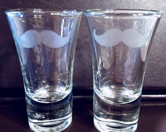 Etched Mustache shot glasses ...set of 2....shot glasses have a weighted bottom...perfect for a gift or to add to your barware