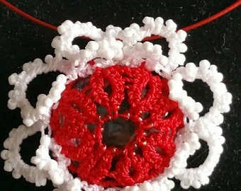 Red Sunflower, Glass beads and tatting Necklaces