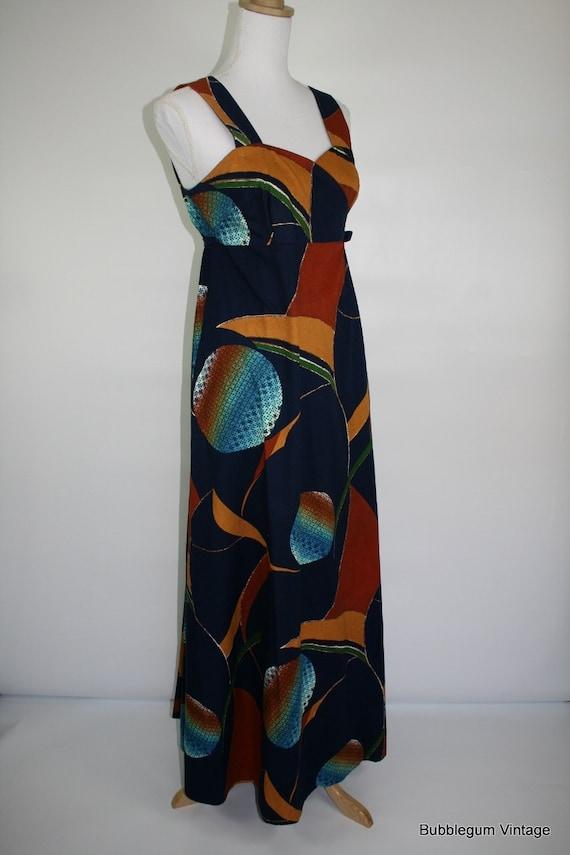 1970s SHANE abstract print wrap maxi dress  36-42/28-33/F