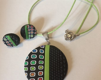 Polymer Clay Mod Rainbow Cane Pendant and Earring set