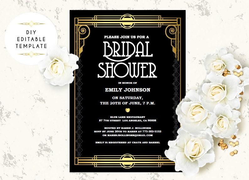 Bridal Shower Invitation Template DIY Great Gatsby Bridal