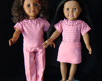 "American Girl Size Doll Clothes, Pink Plaid Blouse with Solid Pink Skirt or Jeans; for 18"" Dolls! School, Play Time or Dress Up Doll Clothes"