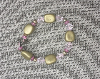Pink and Gold Leather Beaded Bracelet