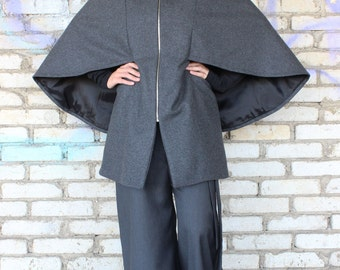 Grey Wool Coat / High Quality Cashmere Coat / Extravagant Plus Size Blazer / Asymmetrical Winter Cape Coat by Fraktura C0004