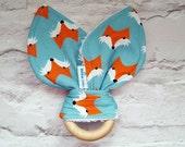 Fox Teether - Natural Wood Teether - Bunny Ears Teething Ring - Baby Gift - Gender Neutral -Wooden Toy - Organic Baby Teether - UK seller