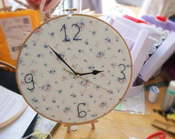 Fabric Embroidery Hoop Clock 10""