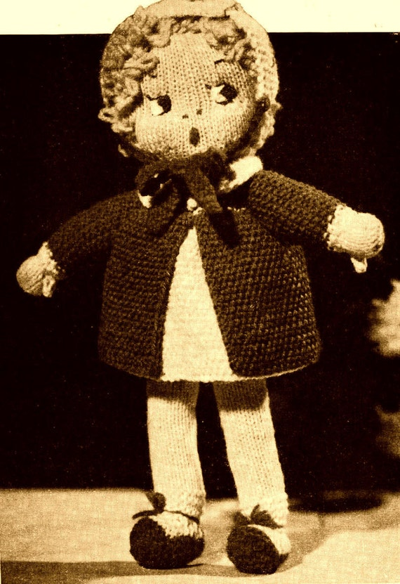 Vintage Knitting Pattern to make a Sweet Little Doll In Dress