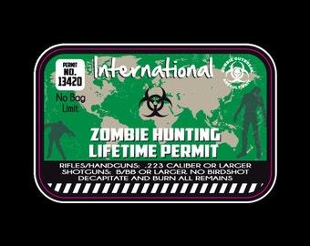 International  Zombie Hunting Permit - Vinyl Sticker - Car Decals - Wall Decals - Custom Decal - Zombie Stickers - Zombie Decals - Zombies