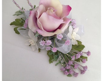 Purple Wrist corsage, lavander rose.