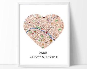 Paris Printable Art, Paris Map, Paris Print, Paris Poster, Paris Decor, Paris Coordinates, Paris Is Always Good Idea, Heart Instant Download