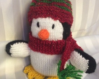 Peter the Penguin, knitted handmade soft toy