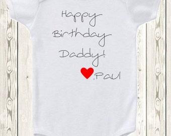 Custom happy birthday onesie® brand bodysuit Happy birthday Mommy, Daddy, Grandpa, Grandma . love (child's name), gender neutral.