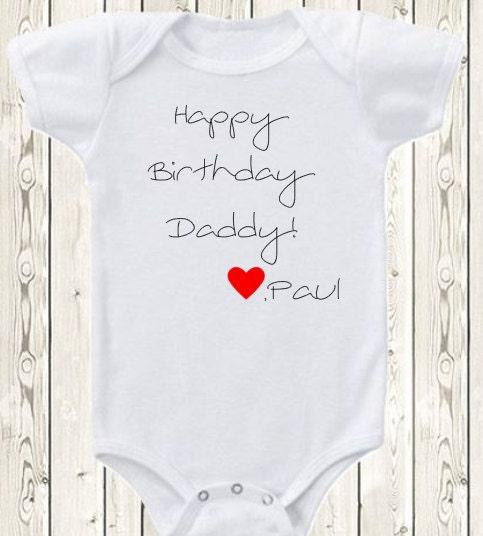 Custom Happy Birthday Onesie Brand Bodysuit Mommy Daddy Grandpa Grandma