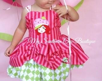 Strawberry girl themed dress- Strawberry Shortcake dress- Girls Birthday dress- Summer Strawberry dress- Ruffle Strawberry dress- Girl Dress