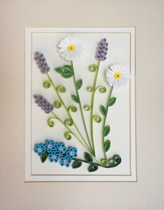 Quilling spring flowers wall hanging - hand crafted home décor