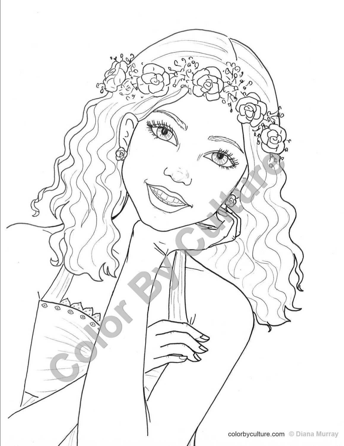 coloring pages for teens online | Fashion Coloring Page Girl with Flower Wreath Coloring Page