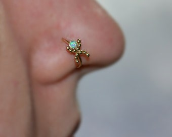 2mm Opal NOSE RING // Gold Nose Piercing - Tragus Hoop - Forward Helix Earring - Daith Earring - Septum 20g - Cartilage Ring 20 gauge