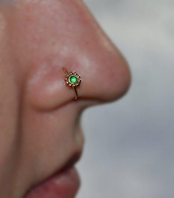 emerald flower nose ring gold nose piercing tragus hoop