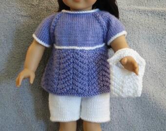 American Girl Summer Top, Walking Shorts and Purse (Knitting Pattern)
