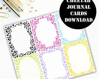Cheetah Print Journaling Card Printable / Journal Cards / Scrapbook Kit / Journaling List / Listers Gotta List / Instant Download 00070