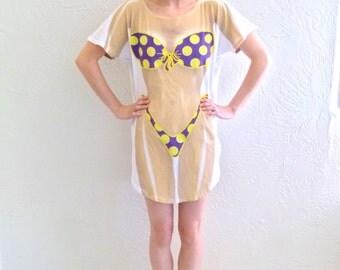 90s Yellow Polka Dot Bikini T-shirt Dress
