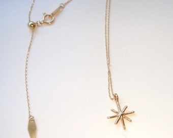 snow crystal Necklace, star necklace, star necklace gold, 10k necklace, tiny star necklace、tiny gold necklace